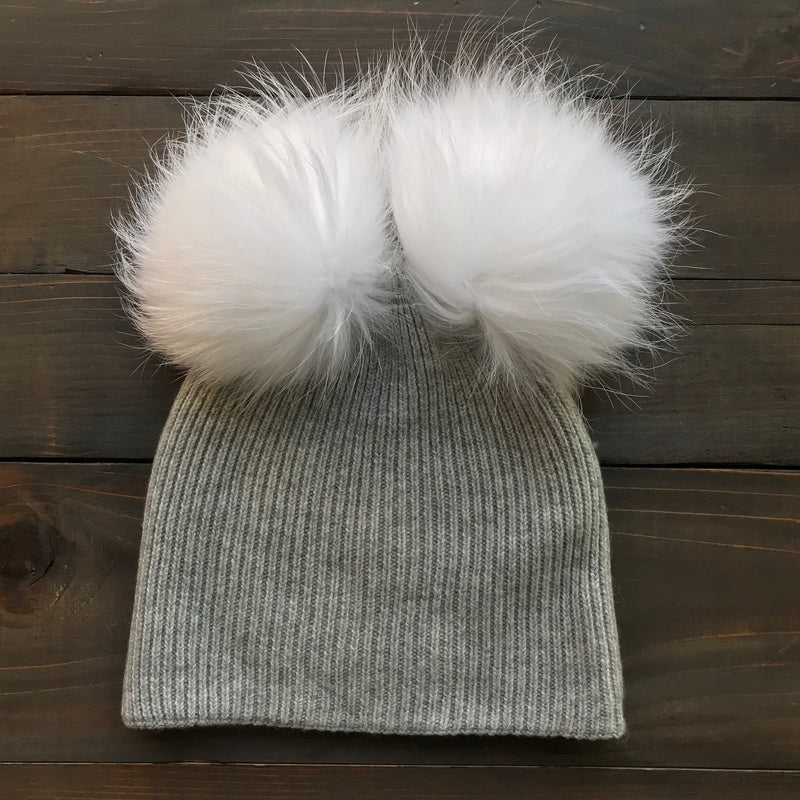 Ribbed Merino Double Pom Hat (3 pom color options)