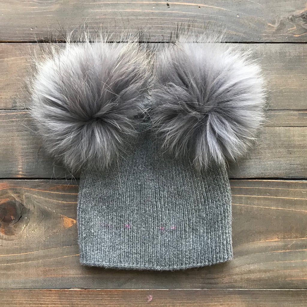 Double Fur Pom Hat *Kids* (4 pom options)