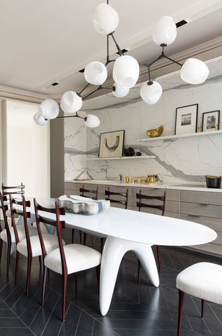This Sputnik Chandelier Matches The White Tulip Inspired Table And Mid Century Modern Chairs Love How All Of Neutral Colors Organic Shapes Engage