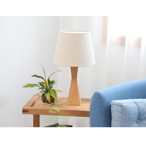 Aneby modern table lamp in wood with linen lampshade