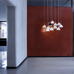 WILLY ceiling pendant in black or white glass by Enzo Panzeri for Zaneen Lighting lifestyle two