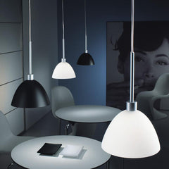 WILLY ceiling pendant in black or white glass by Enzo Panzeri for Zaneen Lighting lifestyle