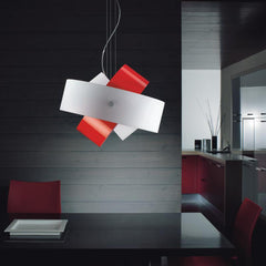 Tourbillon large suspension lamp by Zaneen lighting in red application shot