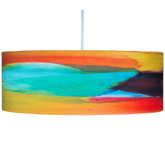 Citrus colorful drum pendant by Rowan chase for Lumigado Lighting