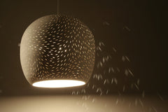 Claylight Symmetrical line pattern pendant by Lightexture