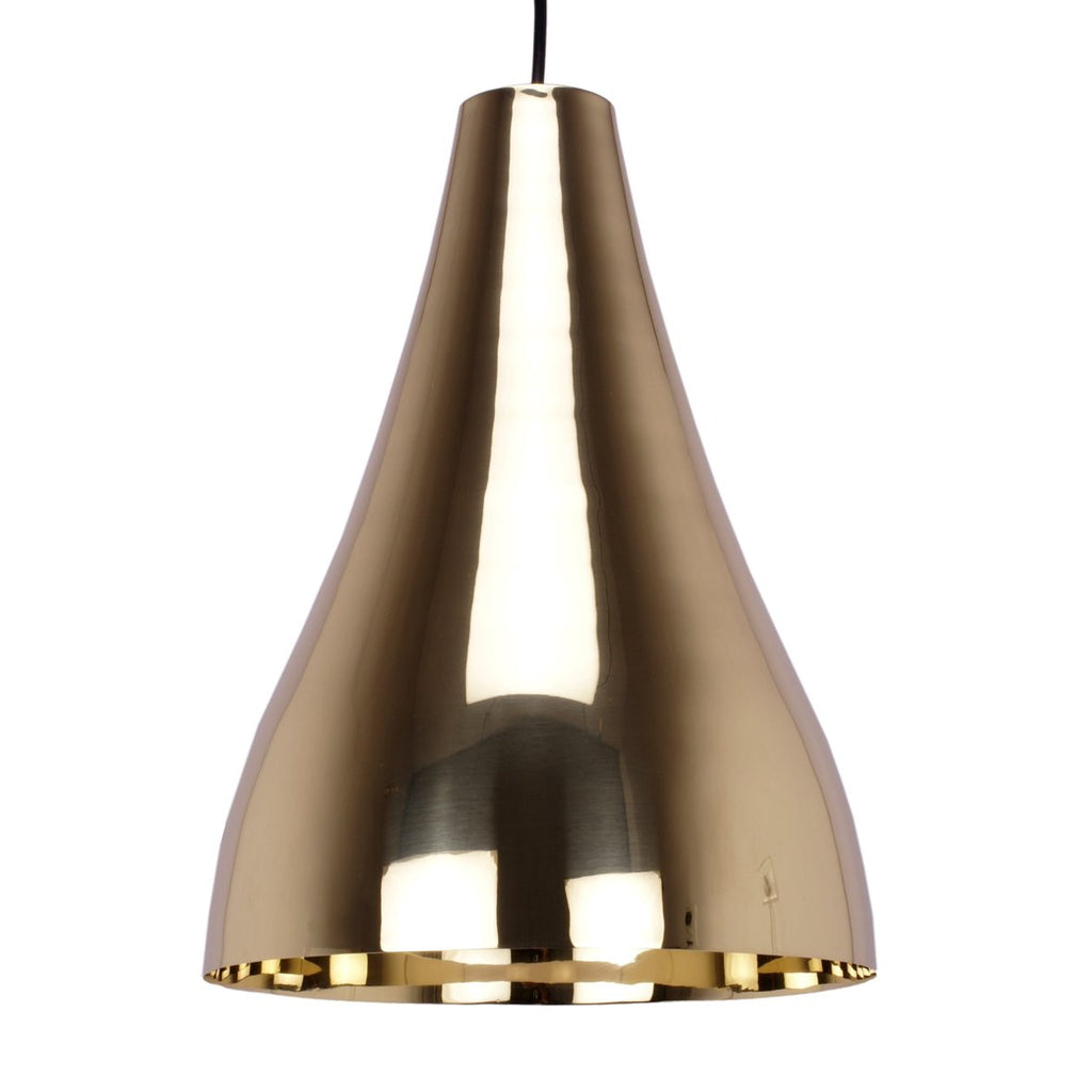 CONE PENDANT LIGHT BRIGHT BRASS 38CM