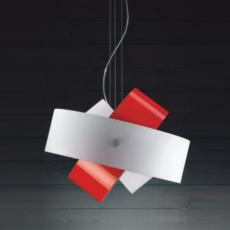 Tourbillon large suspension lamp by Zaneen lighting in red and white