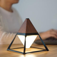 Pyramid LED table lamp in dark wood