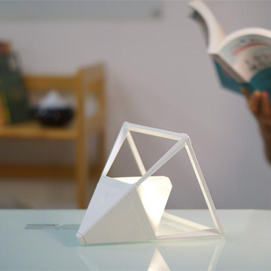 Pyramid LED table lamp in ceramic white a Table Lamp by GX - Lumigado lighting