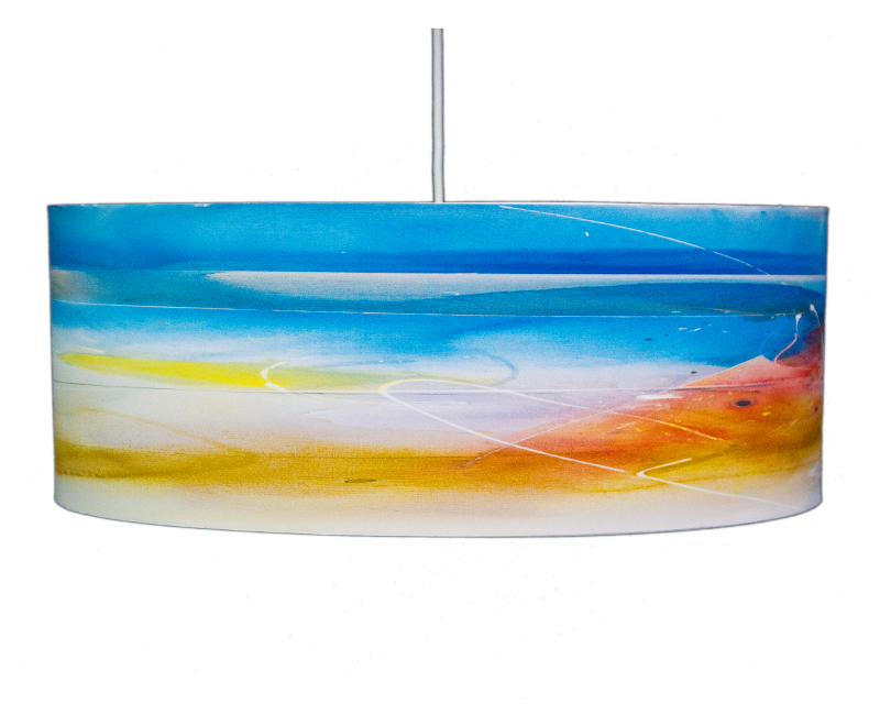 Blue colorful drum pendant Last Light by Rowan chase