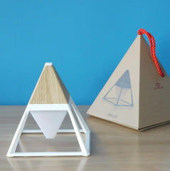 light wood pyramid LED table lamp with trendy box