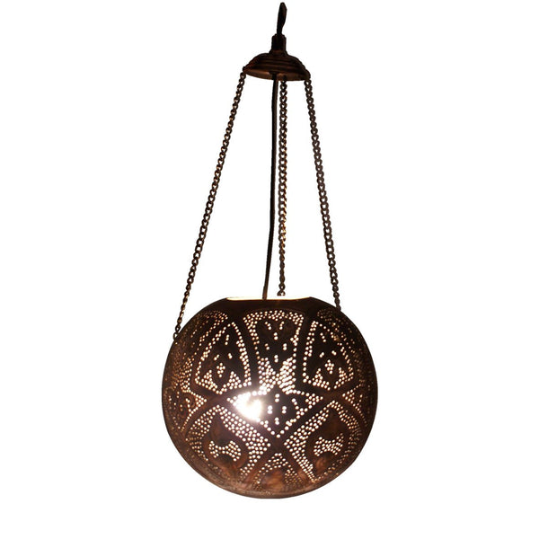 MACRAME PENDANT LIGHT ANTIQUE COPPER 85CM a Pendant by ASWAN INTERNATIONAL - Lumigado lighting