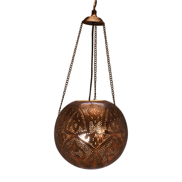 MACRAME PENDANT LIGHT ANTIQUE COPPER 85CM