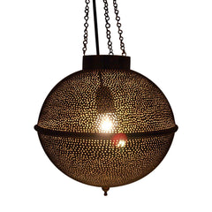 MACRAME PENDANT LIGHT ANTIQUE BRASS 90CM