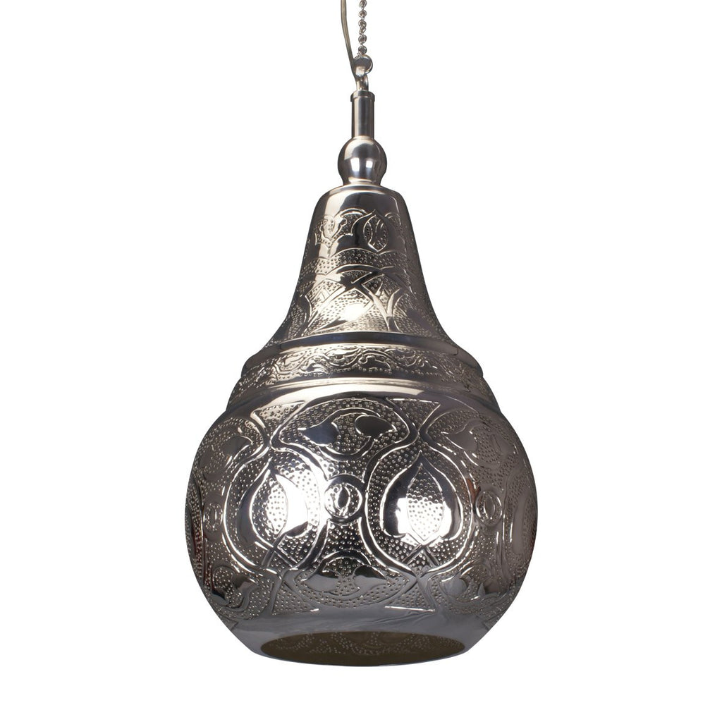 PEAR PENDANT LIGHT BRIGHT SILVER 45CM