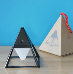 Black ceramic LED table lamp pyramid with trendy box