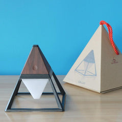 Pyramid dark wood LED table lamp