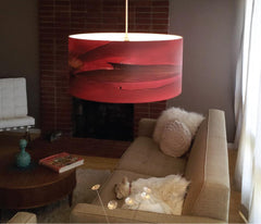 Red colorful pendant ginger by Rowan Chase living room