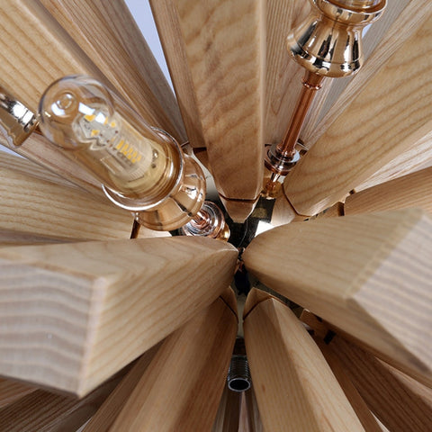 Varberg wooden sputnik chandelier - close up