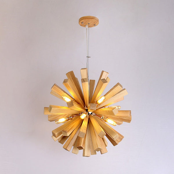 Varberg wooden sputnik chandelier a pendant by Lumigado - Lumigado lighting