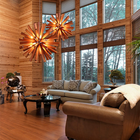 Varberg wooden sputnik chandelier - dark wood - living room