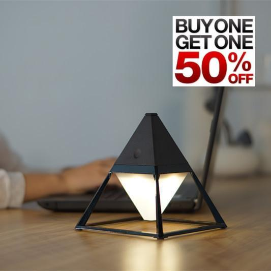 Black ceramic pyramid LED table lamp with buy one get one half off