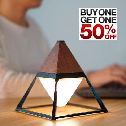 pyramid table lamp in dark wood - buy one, get one half off!