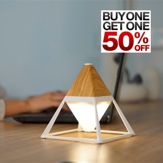 pyramid table lamp in light wood - buy one, get one half off!