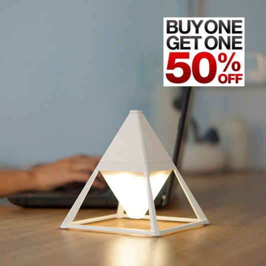 pyramid table lamp in ceramic white - buy one, get one half off!