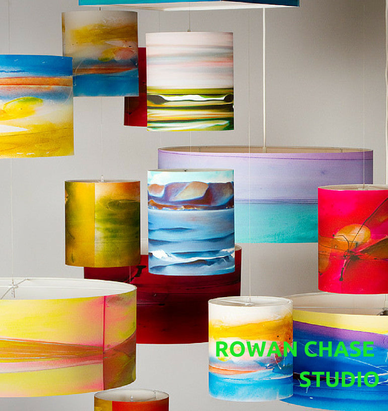 Rowan Chase drum pendant lamps are exclusively at lumigado lighting