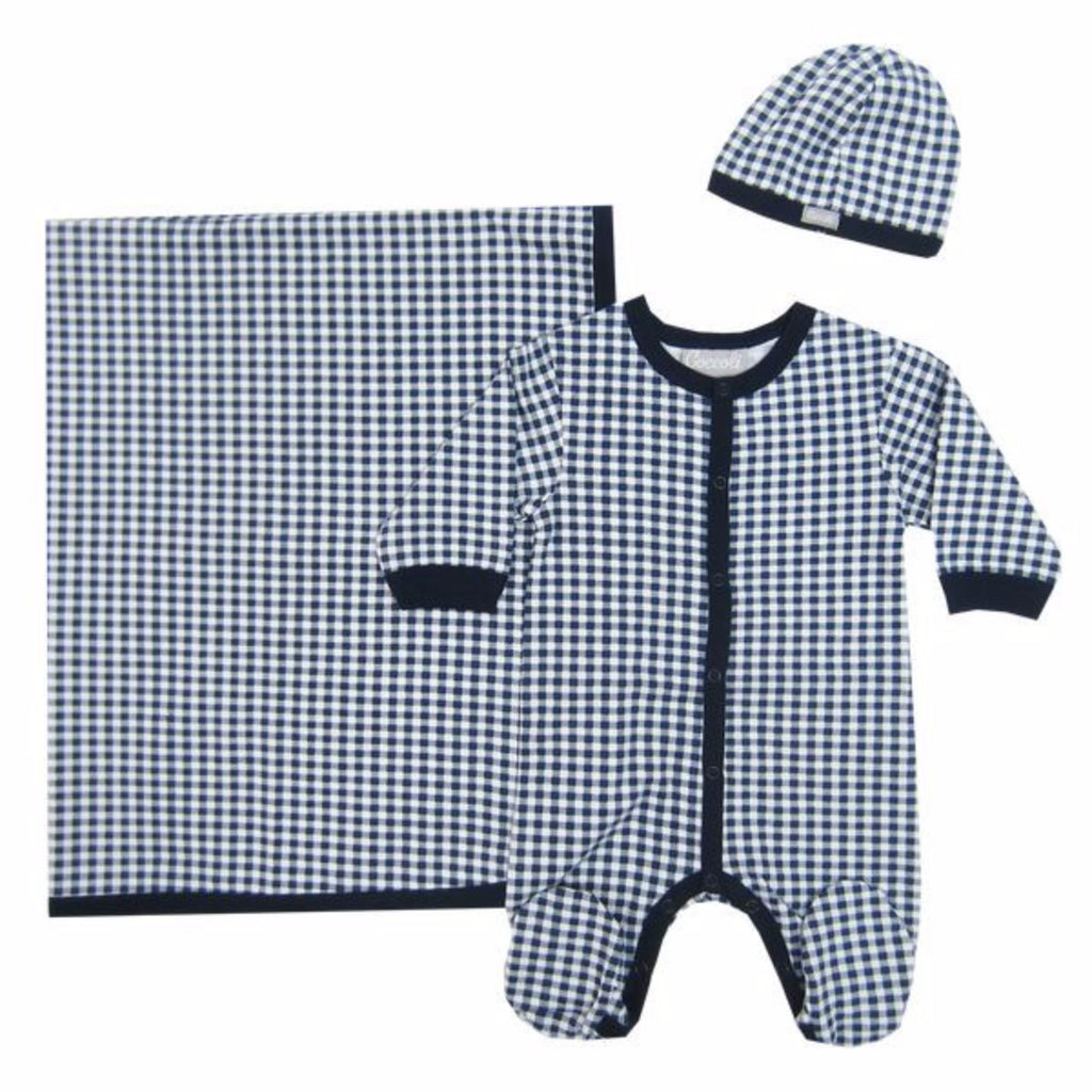 Coccoli Navy Check Print 3 pc Set #W4011 (Preemie-6m)