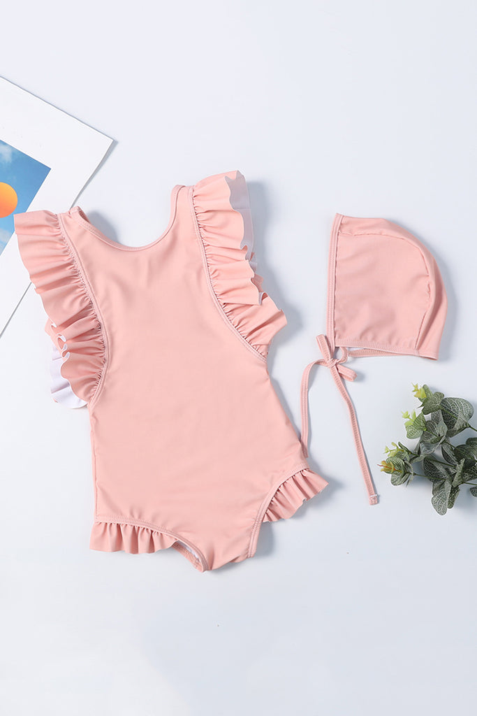 Kids Solid Color Ruffle One-piece Swimsuit