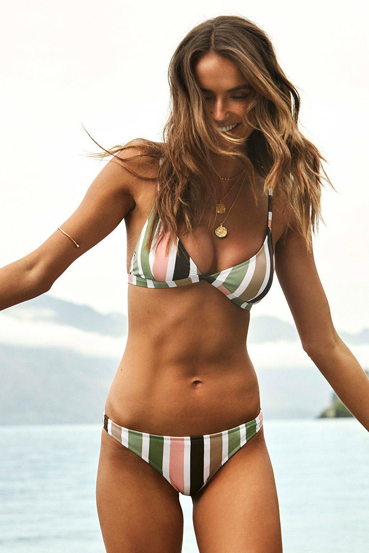 Color Block Stripes Backless Bikini Set