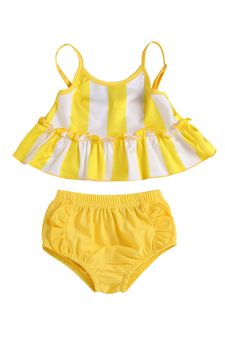 Kids Striped Ruffle Two Pieces Swimsuit