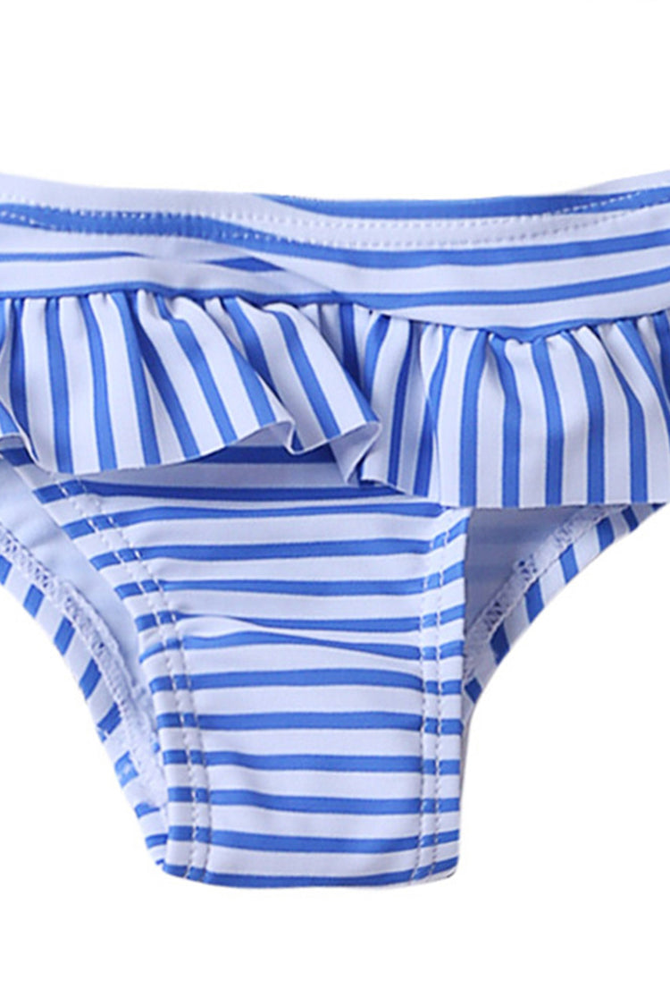 Kids Striped Ruffled Backless Two Pieces Swimsuit