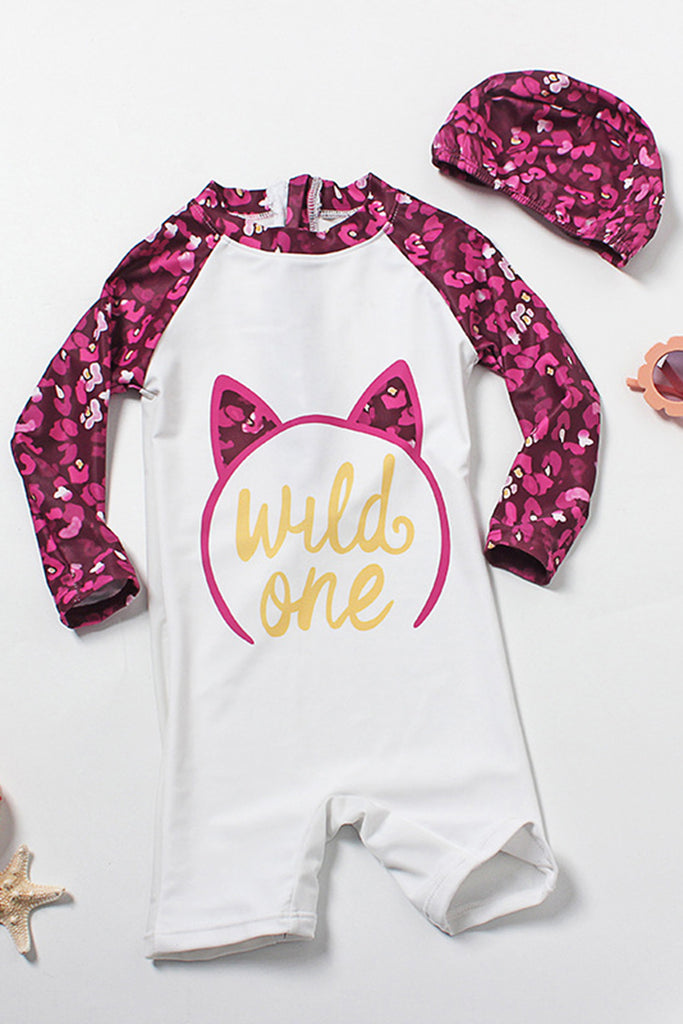 Kids Cat Printed One-piece Swimsuit