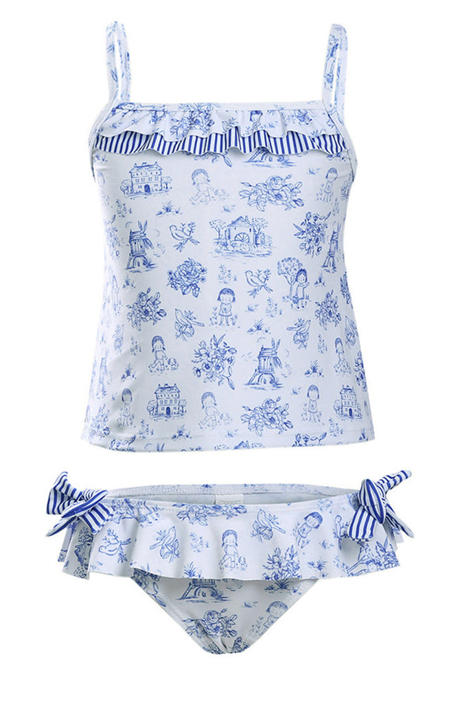 Kids Ruffled Printed Lace-up Two Pieces Swimsuit