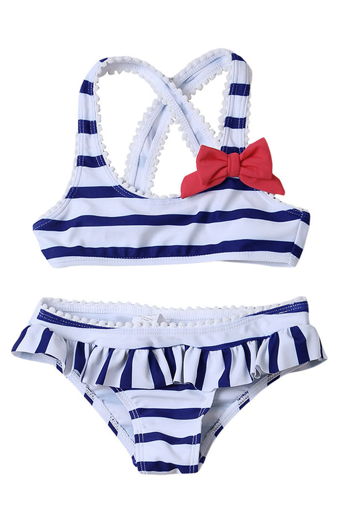 Kids Ruffled Striped Bowknot Two Pieces Swimsuit