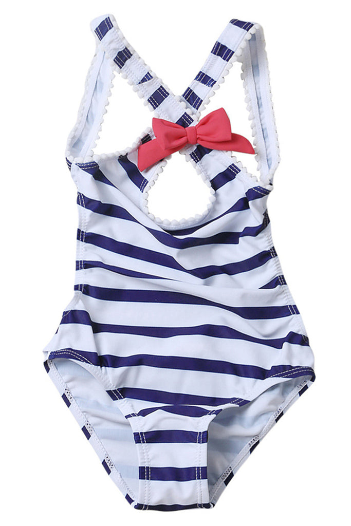Kids Bowknot Stripe Backless One-piece Swimsuit
