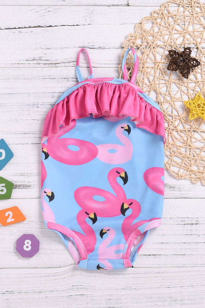 Kids Ruffled Printed One-piece Swimsuit