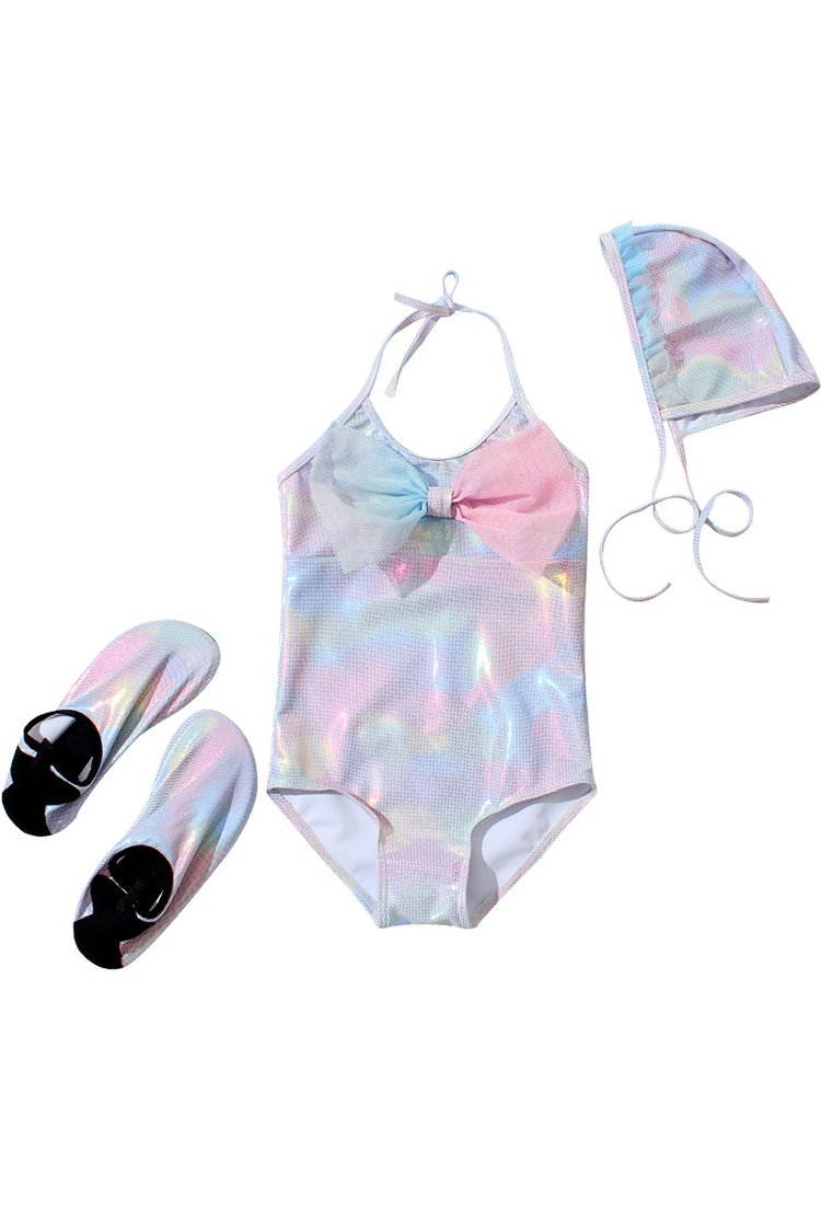 Kids Bowknot Mermaid Backless One-piece Swimsuit