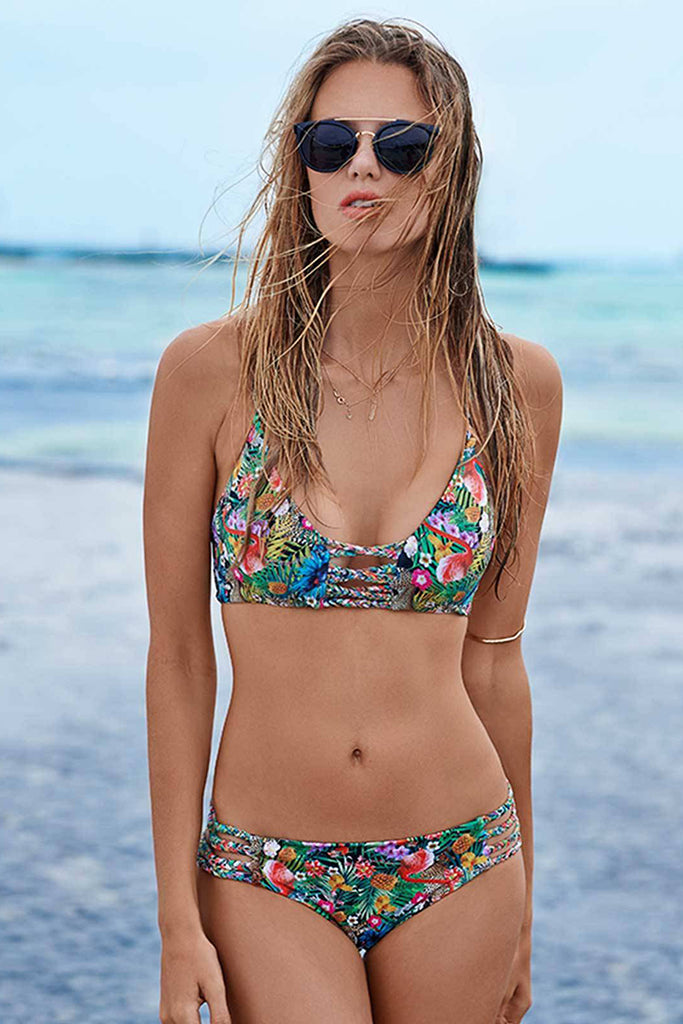Ethnic Printed Braided Rope Strap Backless Bikini Set