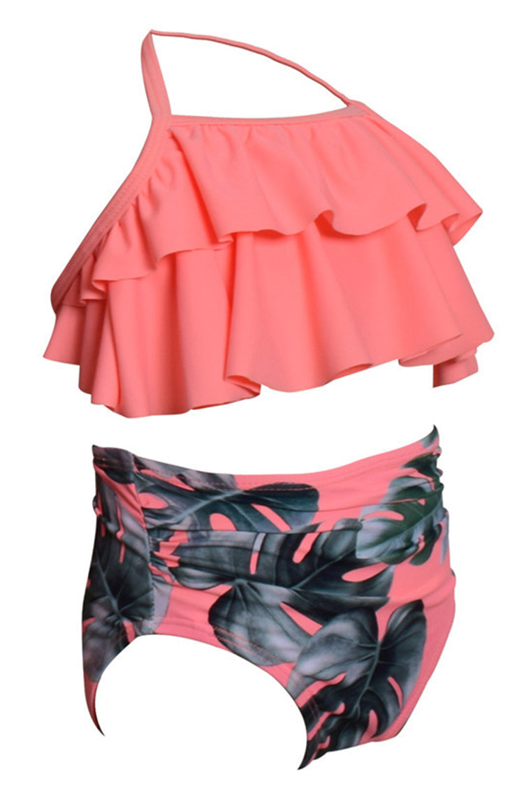 Kids Printed Ruffled High Waist Two Pieces Swimsuit