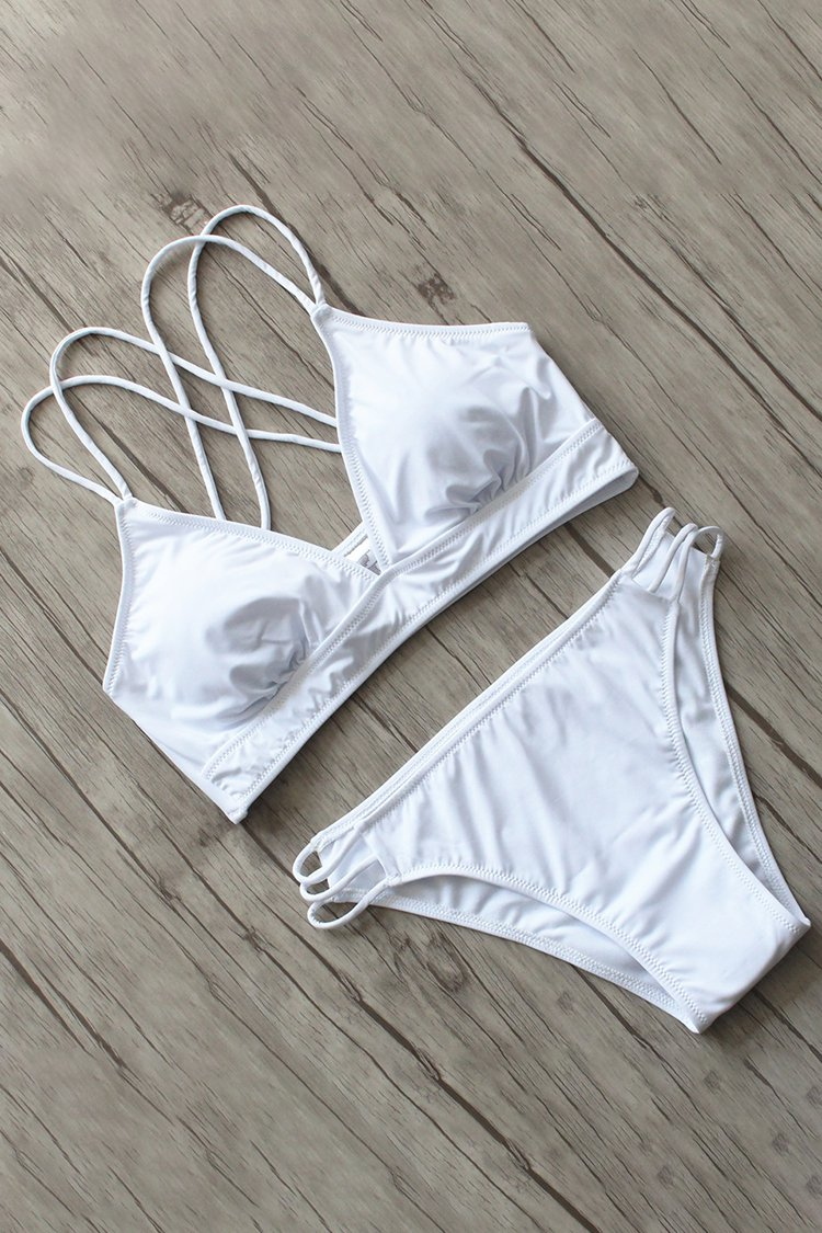 Solid Color Hollow Strapped Bikini Set//Buy 4 Get Free Shipping(Code:freeship)