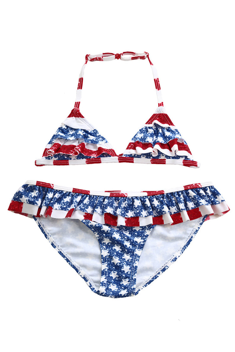 Kids Flag Ruffled Lace-up Two Pieces Swimsuit