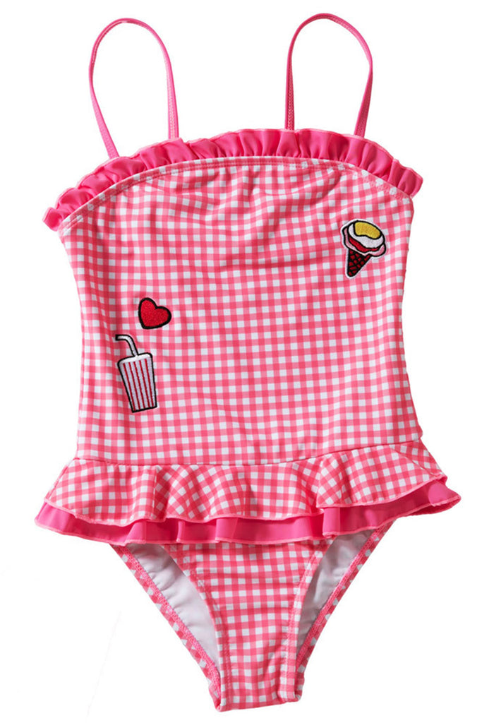 Kids Plaid Ruffle One-piece Swimsuit