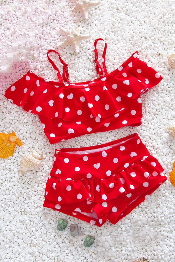 Kids Polka Dots Ruffle Two Pieces Swimsuit