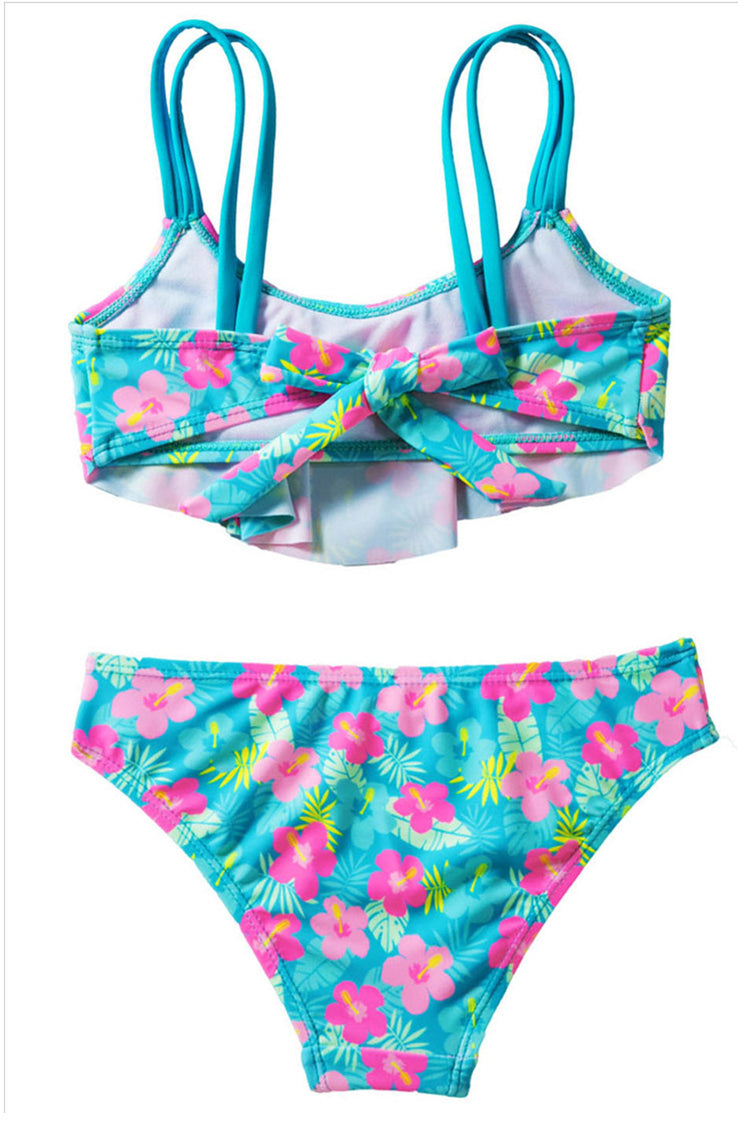 Kids Printed Ruffled Two Pieces Swimsuit