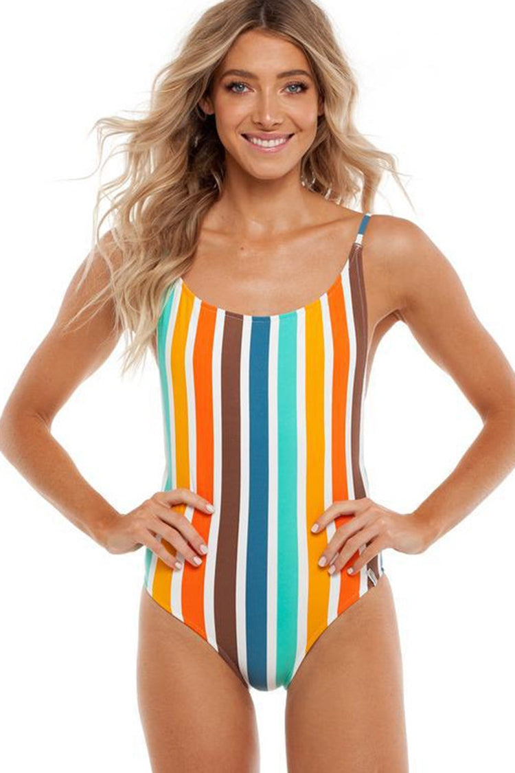 19b3d295fa Colorful Striped Backless One-piece Swimsuit – Bodyfable