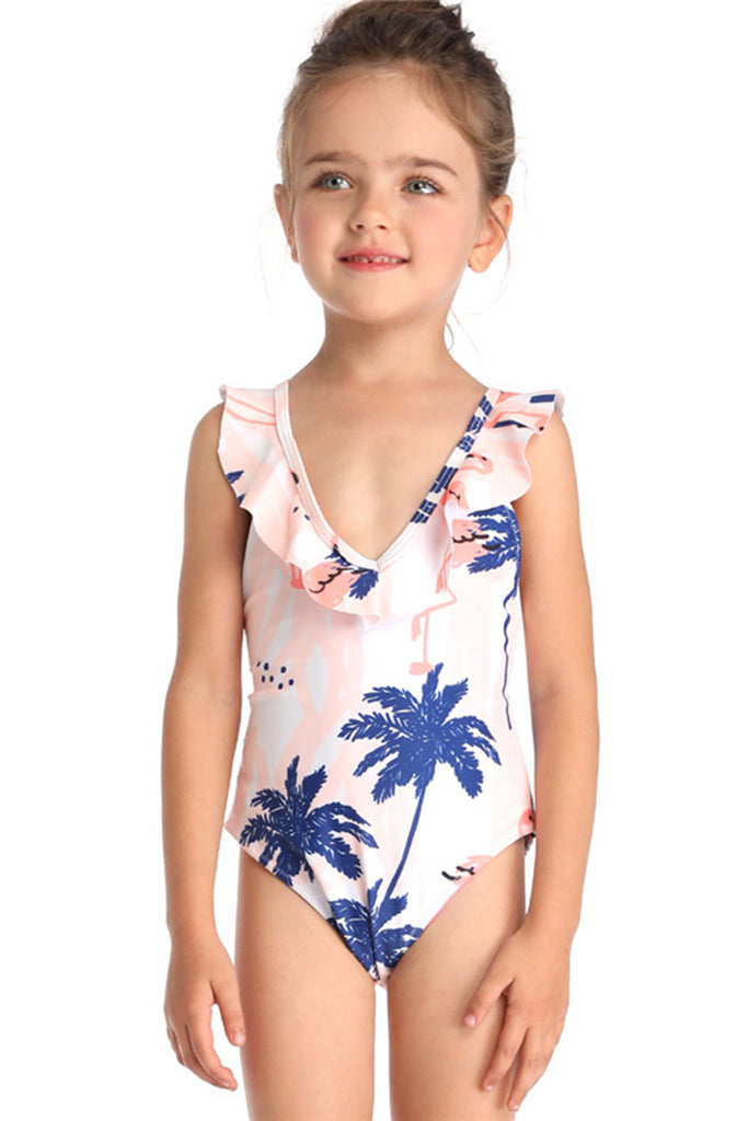 Kids Ruffle Printed Two Pieces Swimsuit